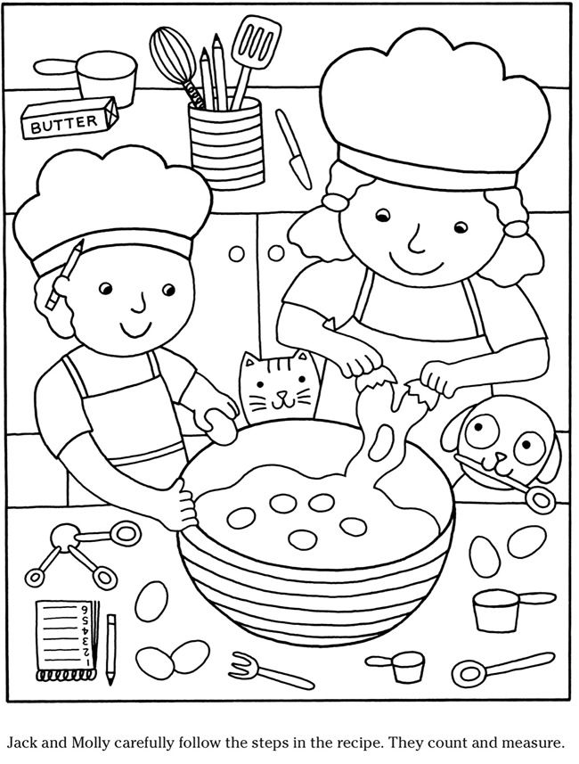- Colouring-in Page - Sample Page From 'Color & Cook Story Coloring Book' Via  Dover Publications ~s~ Thema, Kleurplaten, Kleurboek