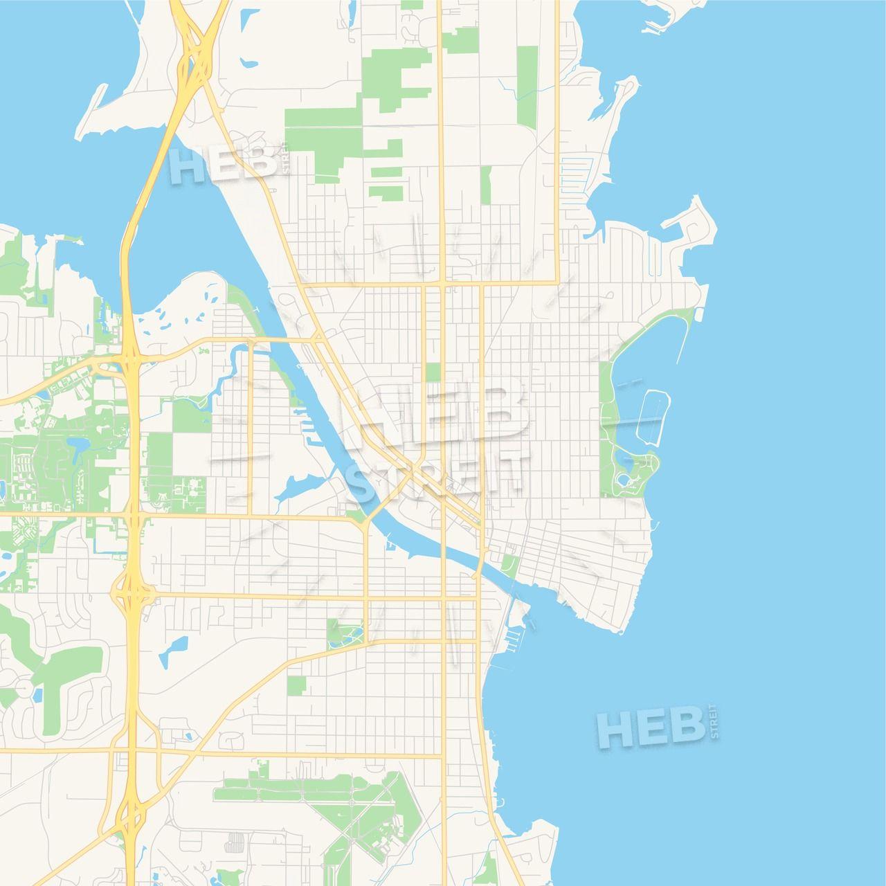 Empty vector map of Oshkosh, Wisconsin, USA | Maps Vector