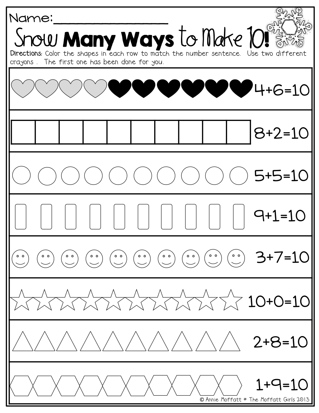 worksheet Decomposing Numbers Kindergarten Worksheets ways to make 10 decomposing numbers sea homeschool math numbers