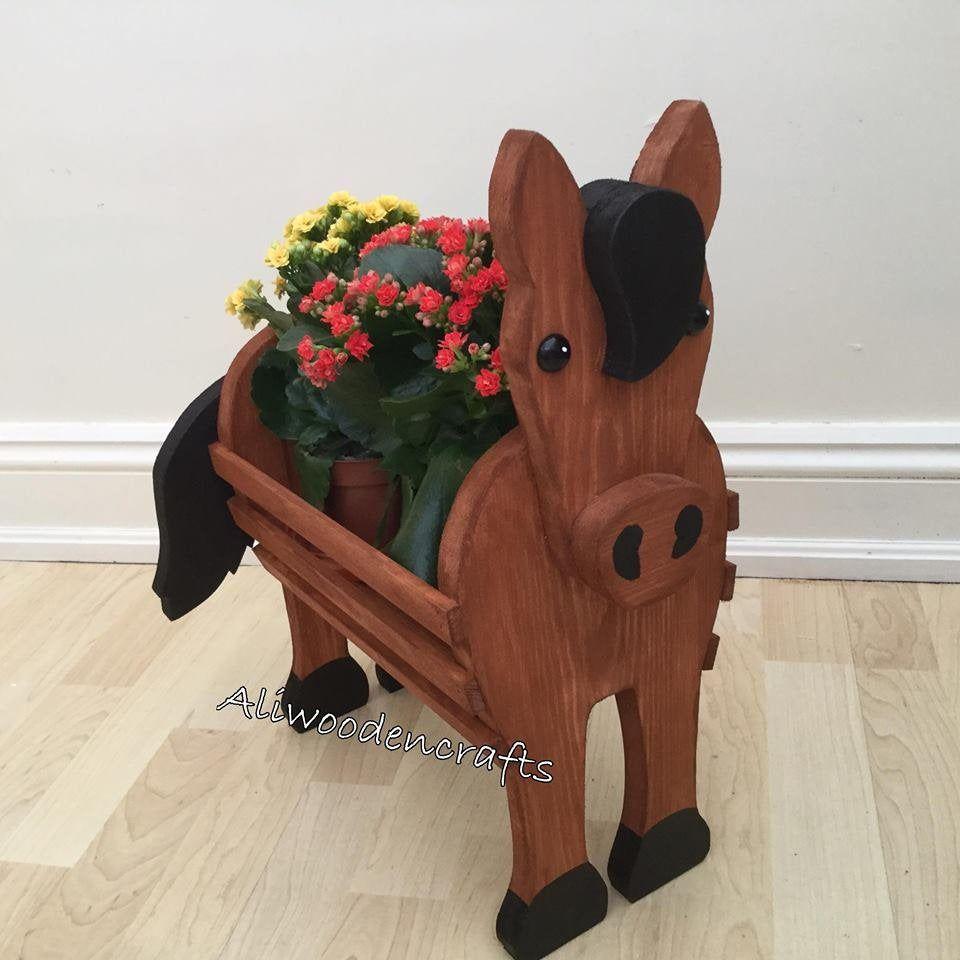 Wooden Pet Planterhorse Gift Wooden Ornamnet Etsy Wooden Garden Ornaments Wooden Ornaments Wood Crafts