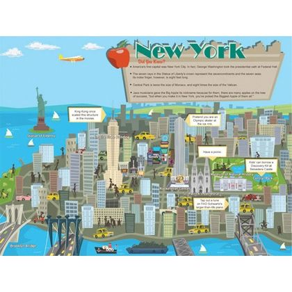 New York City Travel Map Featuring everything from the Statue of ...
