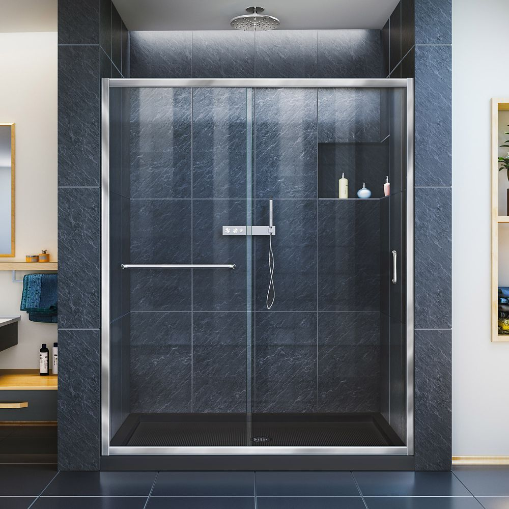 Infinity Z 32 Inch D X 54 Inch W Clear Shower Door In Chrome And Center Drain Black Base Sliding Shower Door Semi Frameless Shower Doors Framed Shower