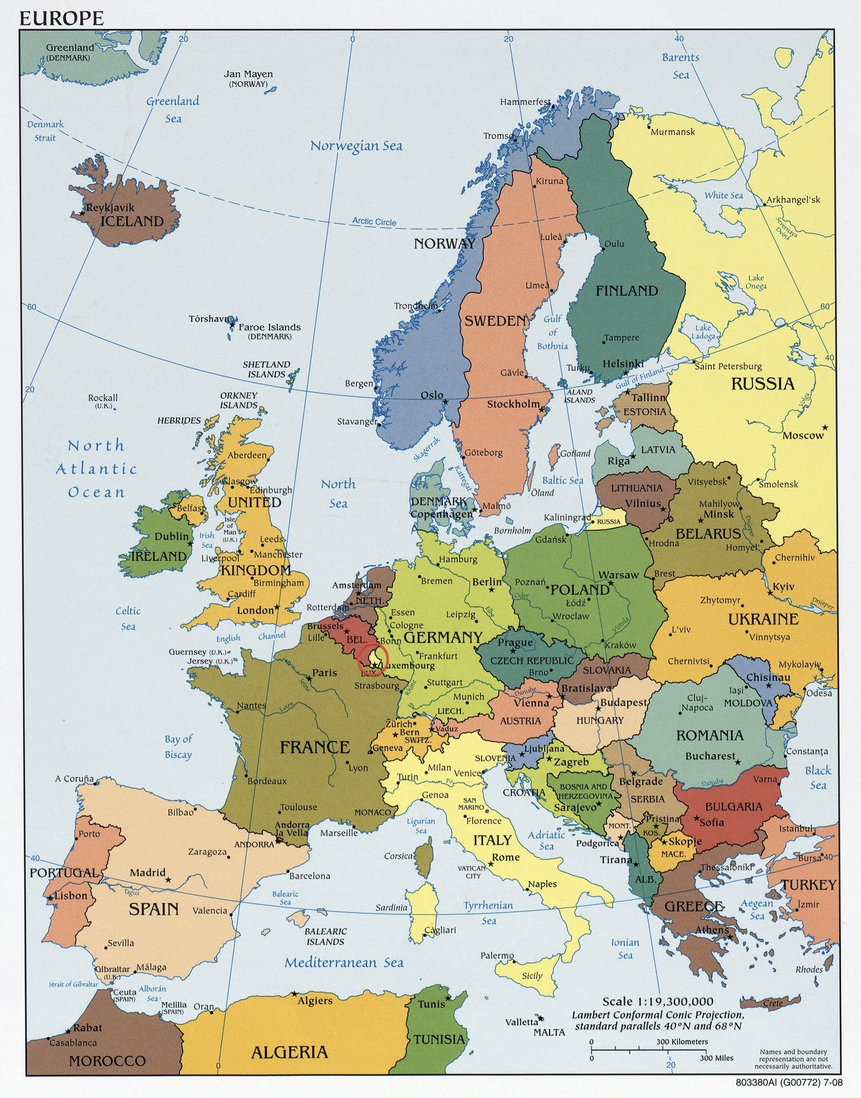 Map Of Europe Luxemburg.Luxembourg Political Map Of Europe With The Location Of