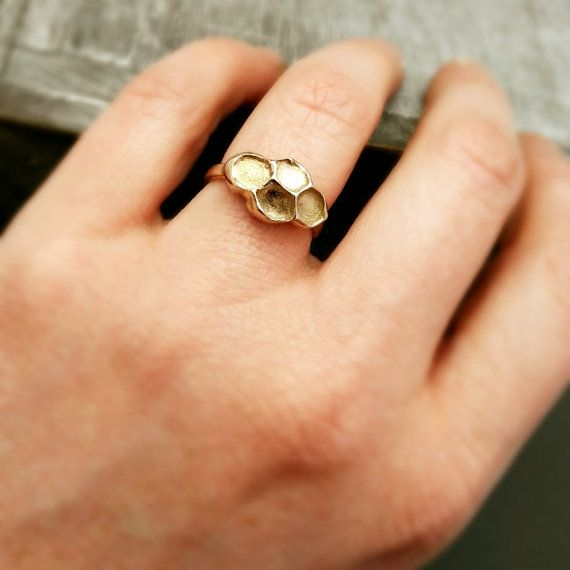Honeycomb Ring Chase and Scout original bronze beehive ring