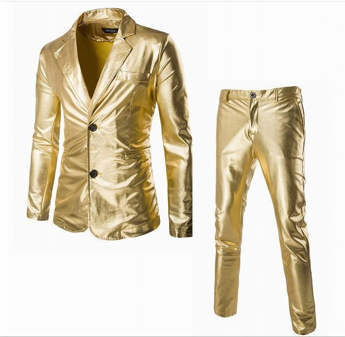 Gold color dresses pants suit