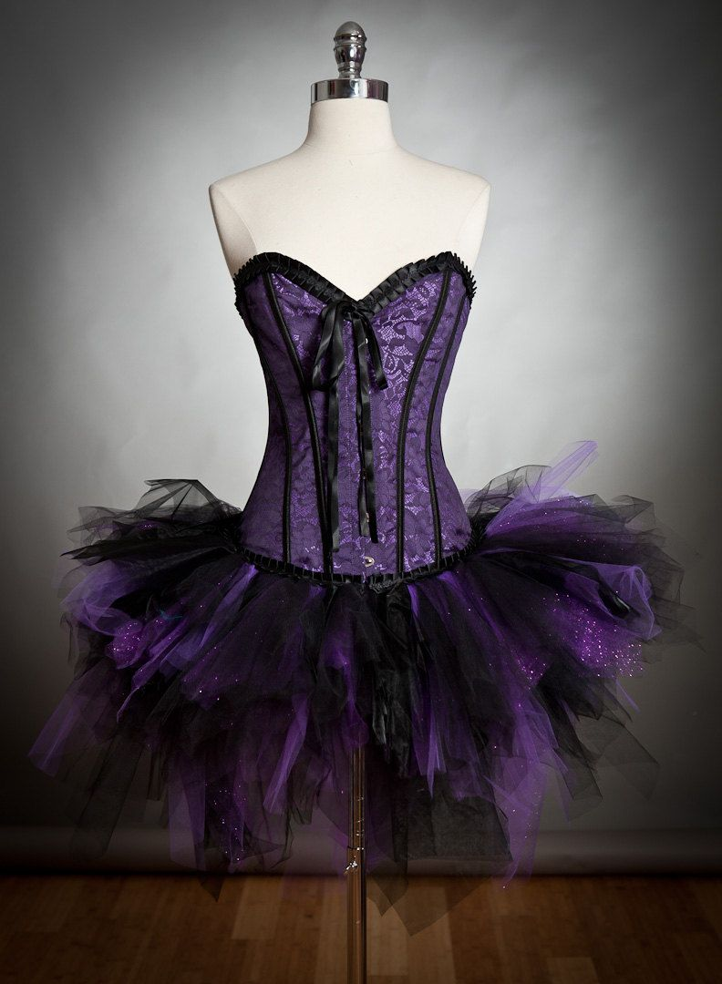 fea42a44aa Size medium Purple and black Burlesque Vampire corset dress with sparkle  cape and black roses Ready to Ship