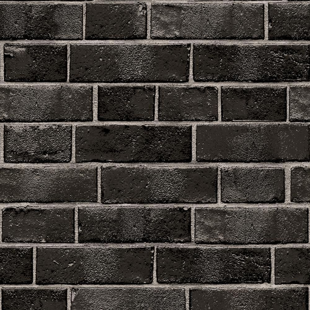 Tempaper Brick Ebony Self Adhesive Removable Wallpaper 28 Sq Ft