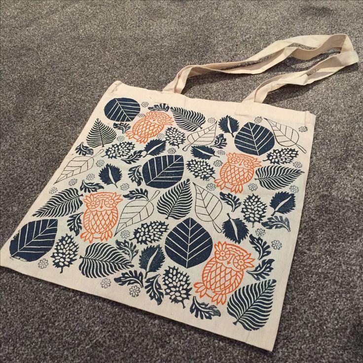 Block Printed Tote Bag using Indian Printing Blocks