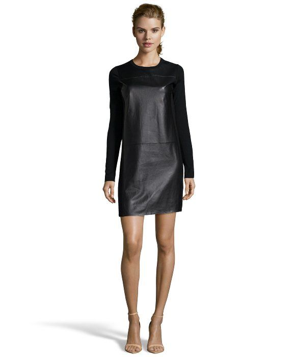 Vince black wool and lambskin leather panel sweater dress