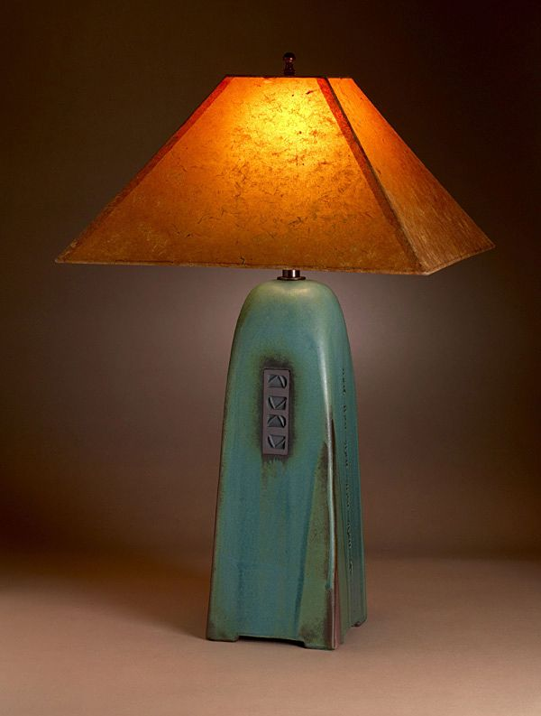 Viridian Pottery Lamp With Lokta Shade Click Image To Close L 225 Mparas De Cer 225 Mica L 225 Mparas