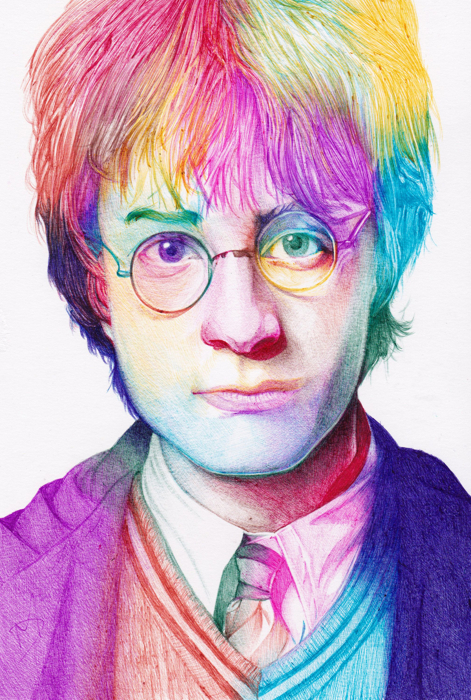 Harry potter multicoloured pen drawing print