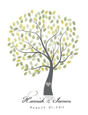 Wedding Tree Guest Book = |6| = Free Fingerprint Tree Guest Book