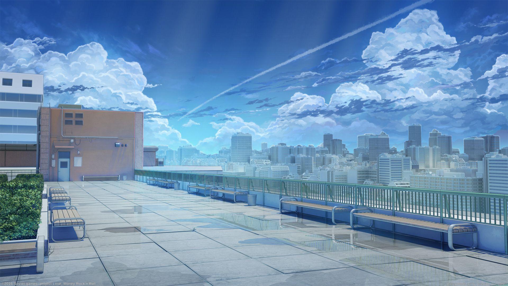 School Rooftop By Arsenixc Anime Scenery Anime Scenery Wallpaper Anime Art Beautiful
