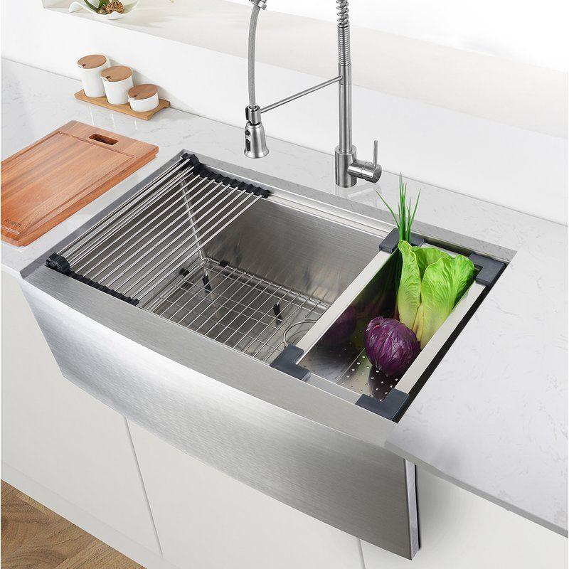 30 L X 22 W X 10 D Verona Workstation Farmhouse Kitchen Sink
