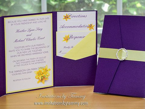 Purple and Yellow Wedding Invitation, Shimmer Purple Pocket fold, Yellow Lilies, Circle Rhinestone Buckle on Light Yellow
