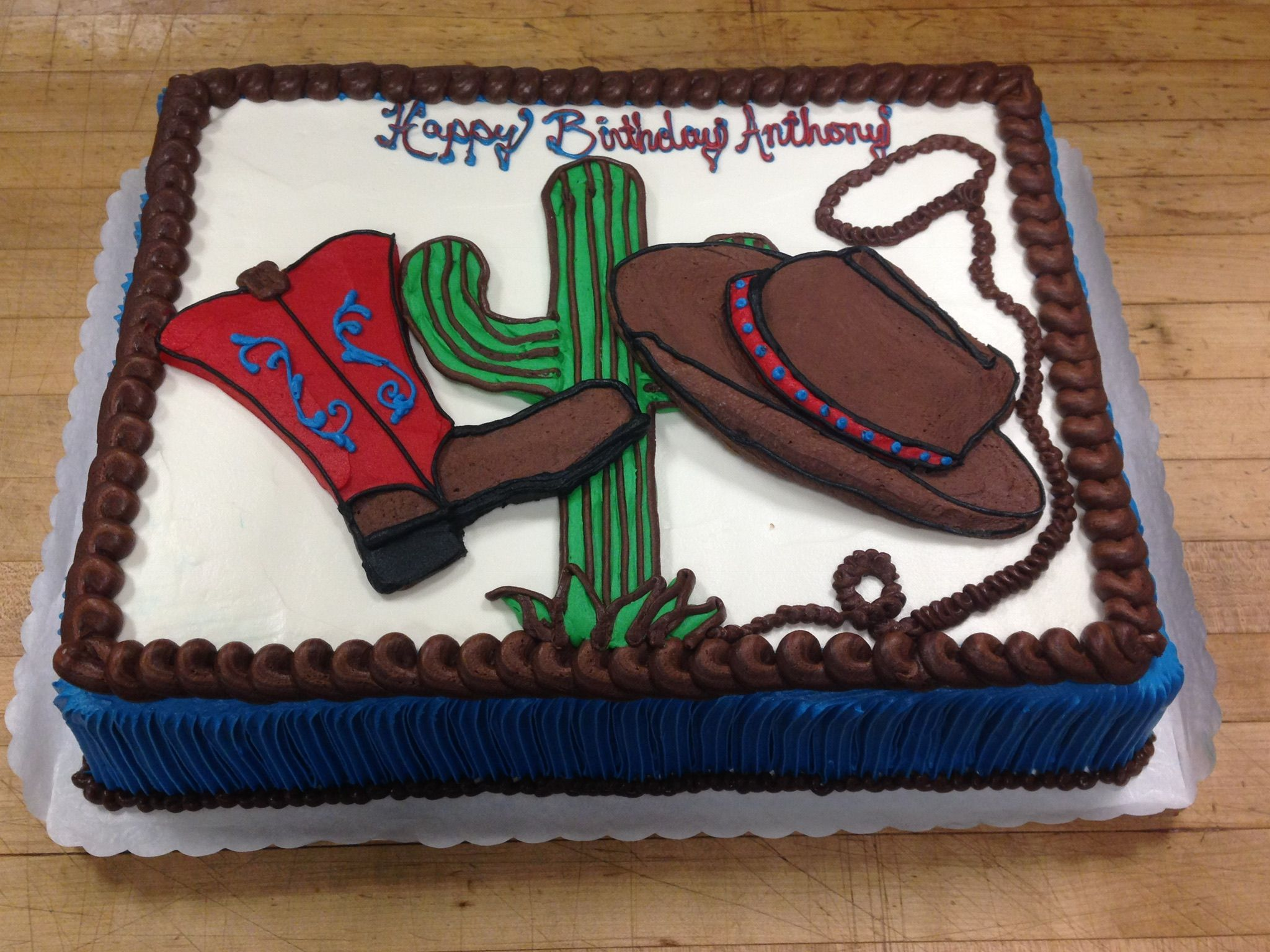 Incredible Western Theme Birthday Cake A Cowboy Boot Hat And Cactus All Funny Birthday Cards Online Aboleapandamsfinfo