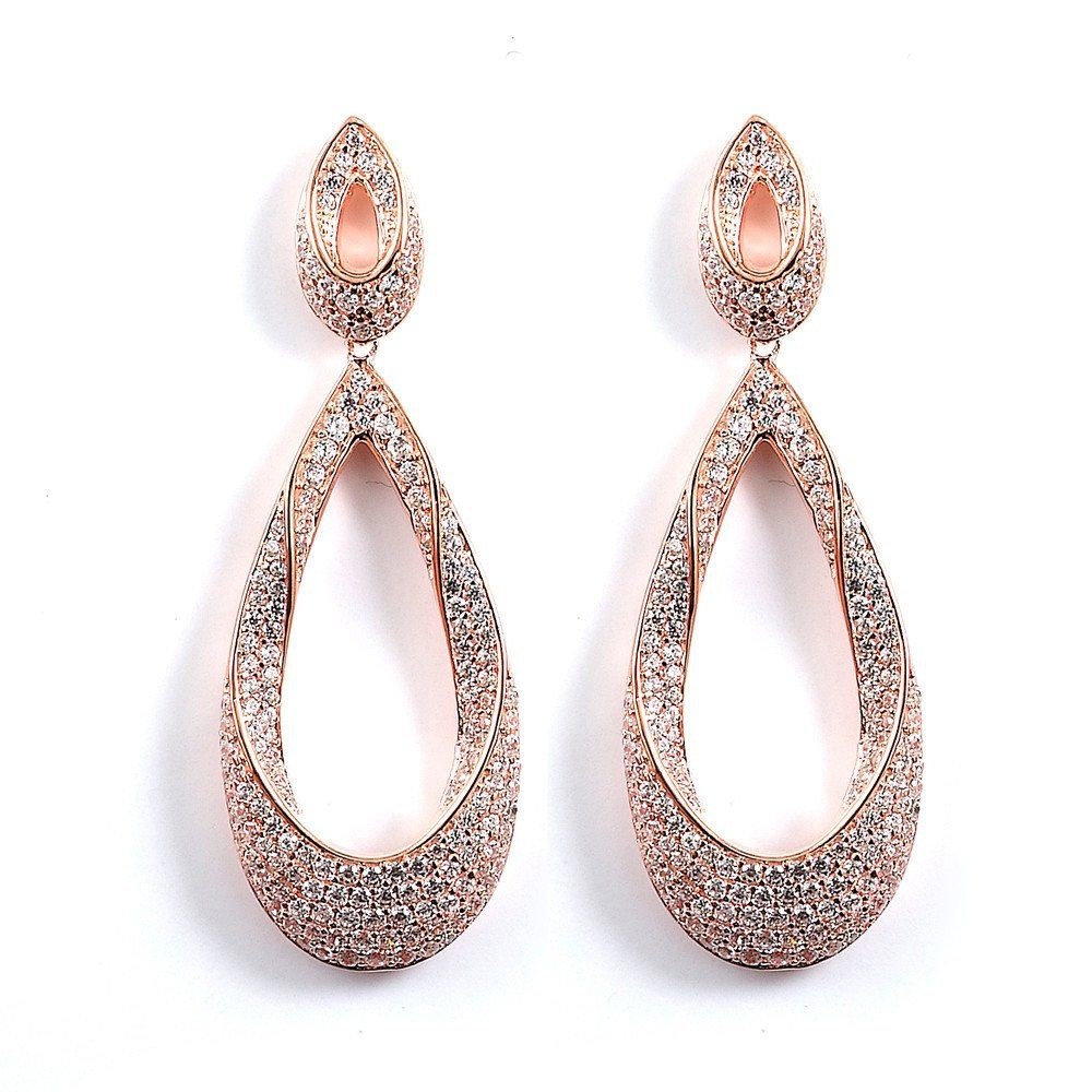 Twisted Tear Drop Pave Formal Event Earrings Cz Sparkle Jewelry