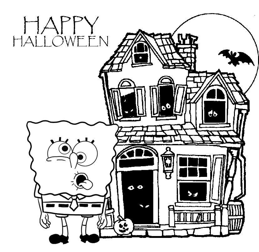 spongebob squarepants ghouls fools dvd halloween coloring page
