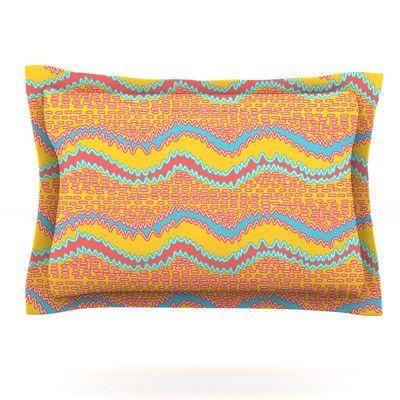KESS InHouse Pink Waves by Nandita Singh Featherweight Pillow Sham Size: Queen, Fabric: Cotton