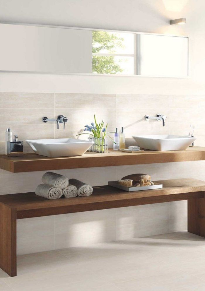 Solid wooden bathroom basin countertop - and wooden bench for towel ...