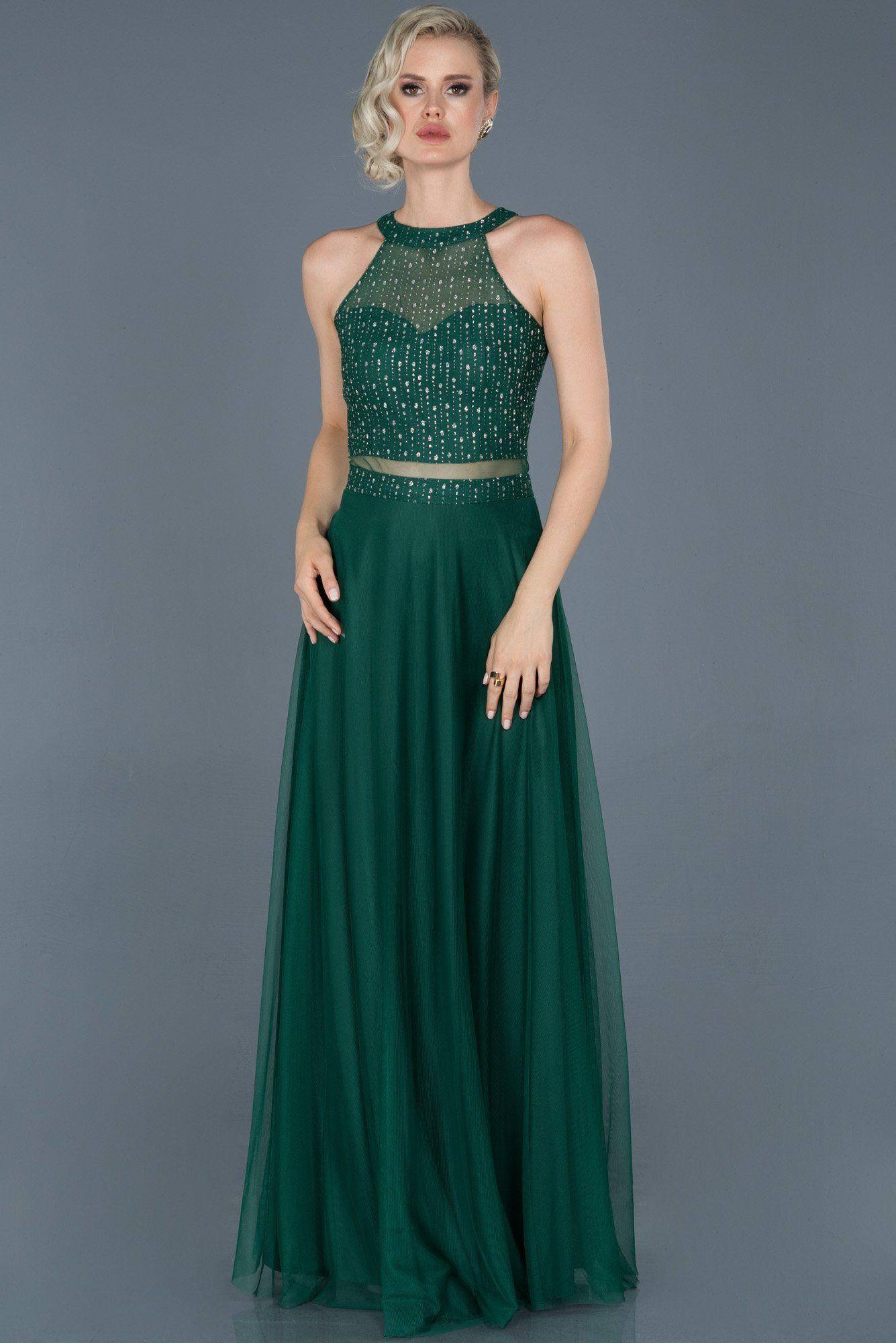Yesil Uzun Kolsuz Abiye Elbise Abu766 Model Dress Evening Dresses Long Prom Dress