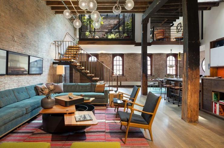 Beau Loft Industriel à Manhattan New York Loft Industriel - Canapé design industriel