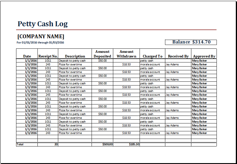 petty cash log template at www xltemplates org microsoft templates