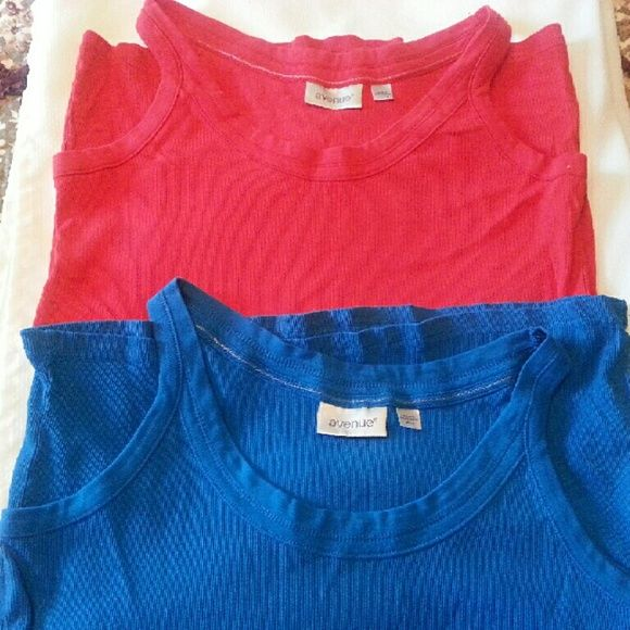 2  Avenue tanks tops 14/16 2 Ave tank tops 14/16. Royal blue and Red.. Red one is new. Royal blue one has been worn once. Excellent condition. 100% COTTON. Avenue  Tops Tank Tops