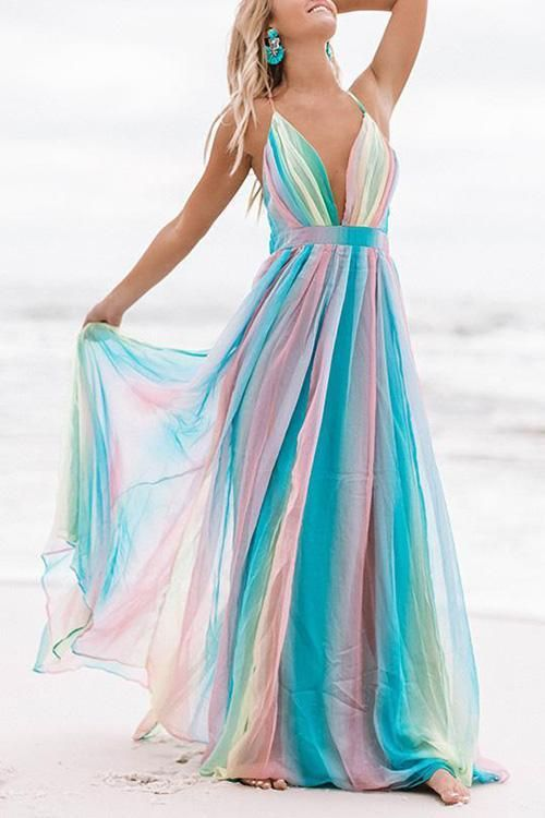 $39.99 V Neck Backless Maxi Dress 2