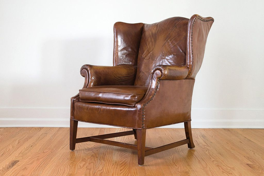 Distressed leather wingback with images leather