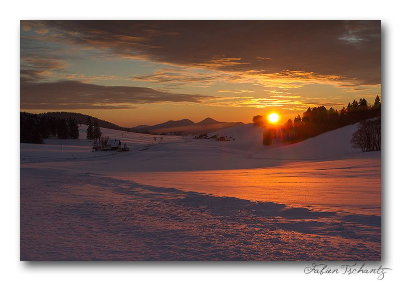 Winter sunset - La Chaux-de-Fonds, Neuchatel