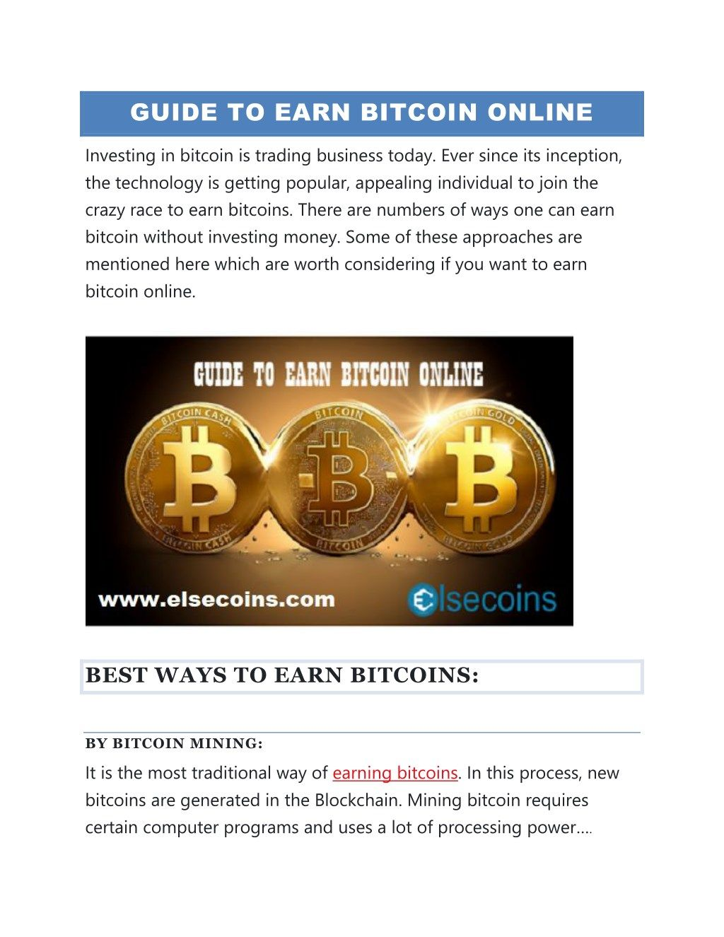 Earning bitcoins without mining guide online sports betting legal pain