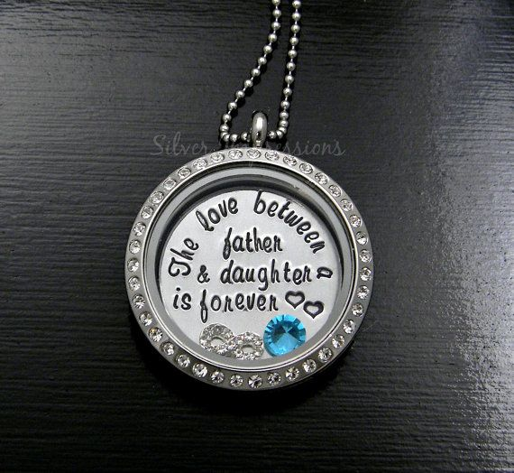 Father and Daughter Necklace Hand Stamped Necklace The Love Between a Father and Daughter Is Forever