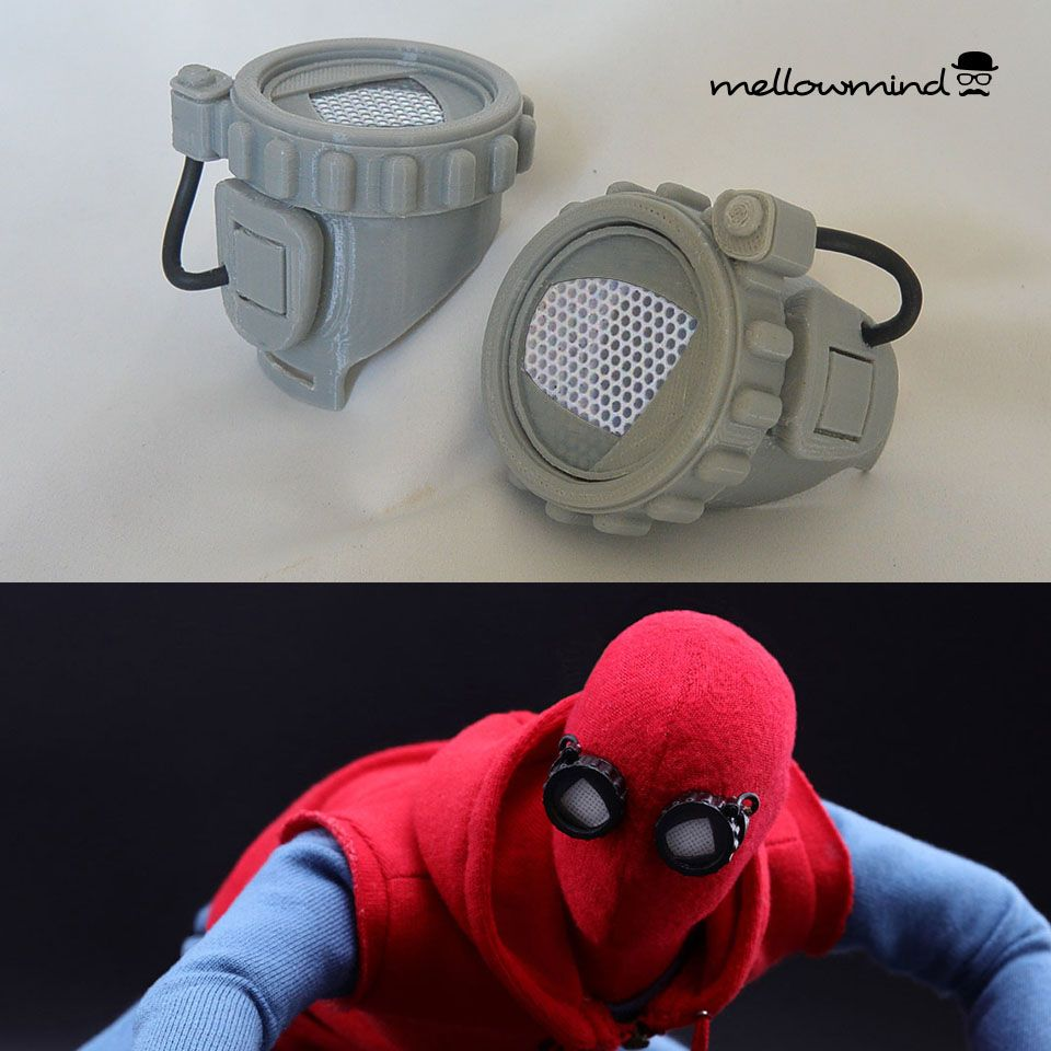 ace7dcb68cc 3D printed Spiderman homemade googles from the Spiderman Homecoming movie.  Fitted with replaceable lenses for different eye expressions.