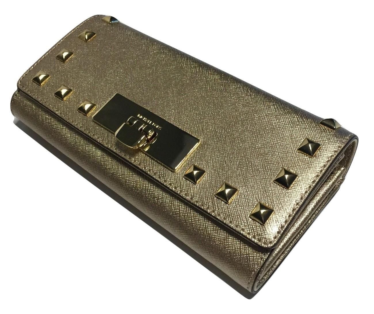 998b88627069b2 Michael Kors Callie Stud Carryall Clutch Wallet Pale Gold Saffiano. Free  shipping and guaranteed authenticity on Michael Kors Callie Stud Carryall  Clutch ...