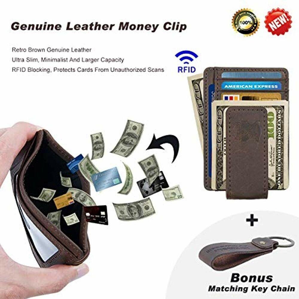 dde0e4661af3 Mens Money Clip Wallet Leather Slim Front Pocket Magnetic RFID Money ...