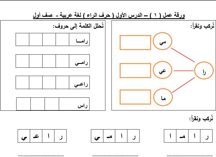 نتيجة بحث الصور عن اوراق عمل عن حرف الراء Teaching Method Learning Arabic Teaching