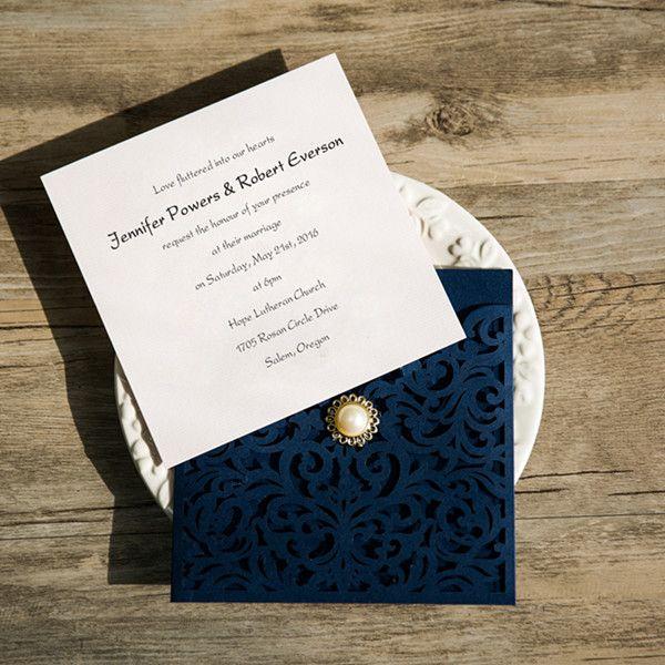 navy blue laser cut pearl wedding invitations ewws066 as low as