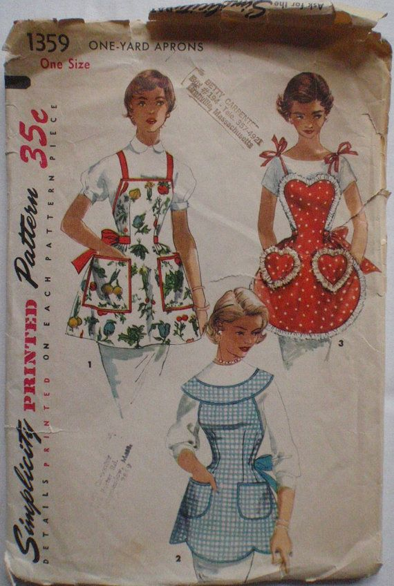 Vintage One Yard Apron Sewing Pattern  Simplicity by Shelleyville