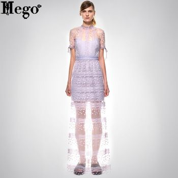 HEGO 2015 Free Shipping Lace Print Turtleneck Ankle-Length Prom Dress Summer Hot With Factory Direct MX225