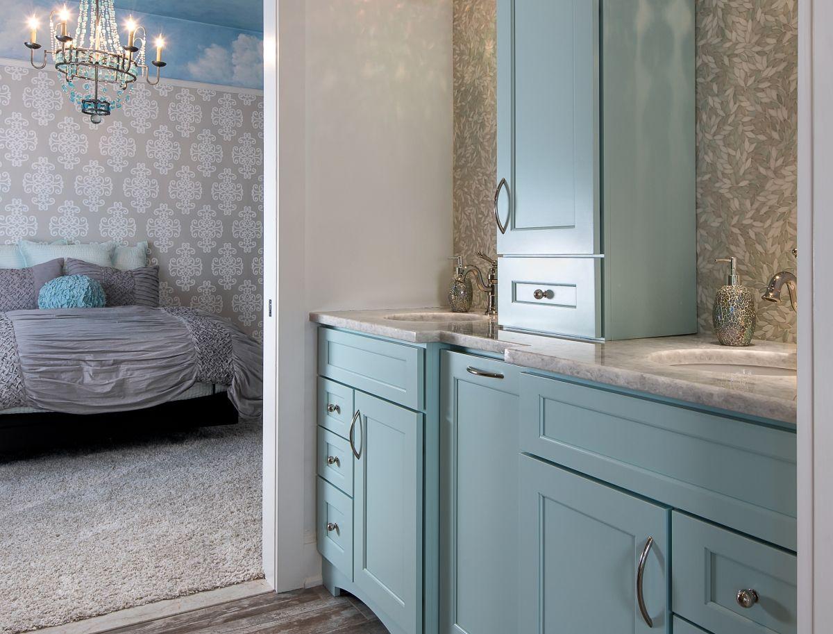 Custom painted sky blue bath vanity in