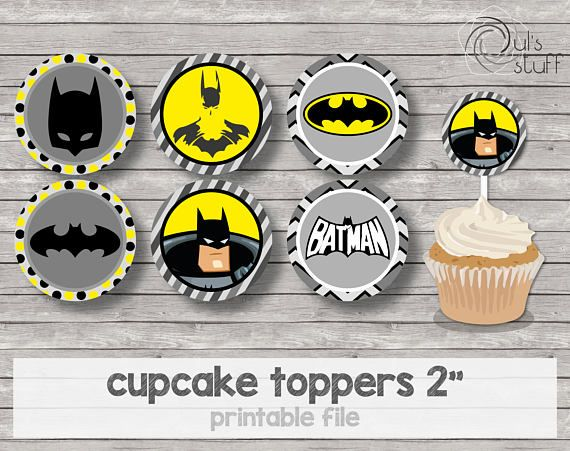 Printable Batman cupcake toppers | Products in 2019 ...