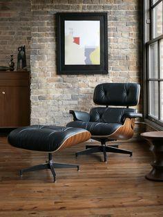 Classic Lounge Chair Ottoman Black Furniture Mid Century