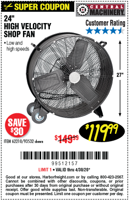 Central Machinery 24 In High Velocity Shop Fan For 119 99 In 2020 Harbor Freight Tools Shop Fans Fan