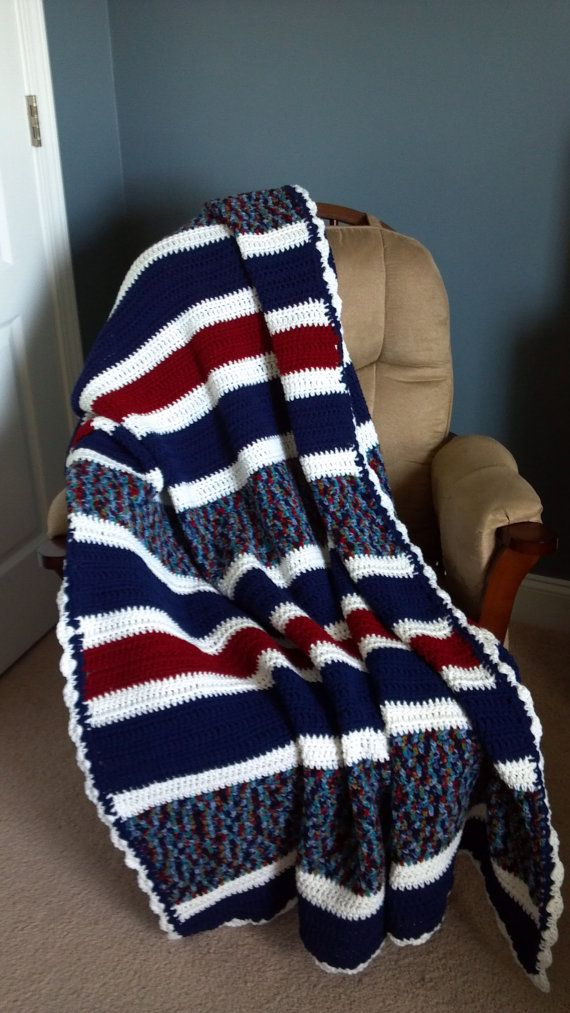 Red White And Blue Crochet Afghan By Snugabletouches On Etsy 5500