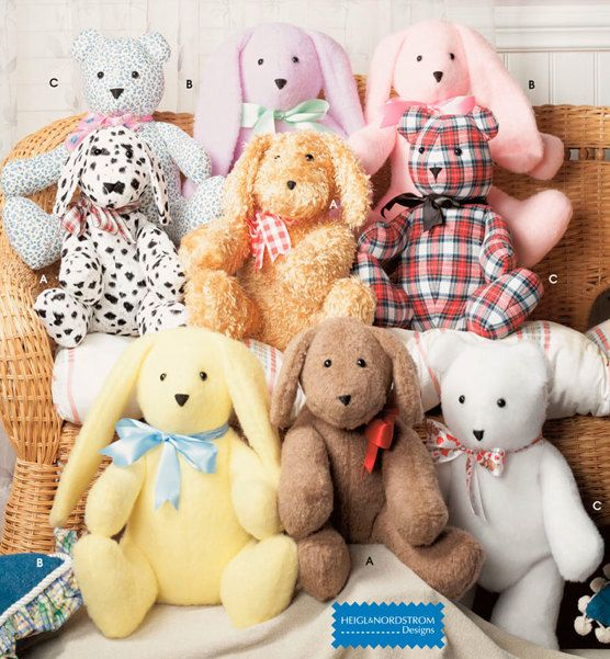 TEDDY BEAR Sewing Pattern - Easy Stuffed Bears Dog Bunny Rabbit ...