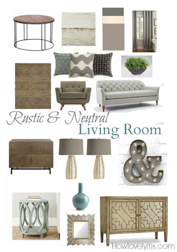 Rustic Neutral Living Room Mood Board