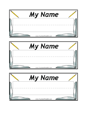 This Free Printable Desk Nameplate Can Be Taped To Students Desks To Identify Assigned Seats It Has A Penmansh Name Plate Desk Name Tags Name Tag For School