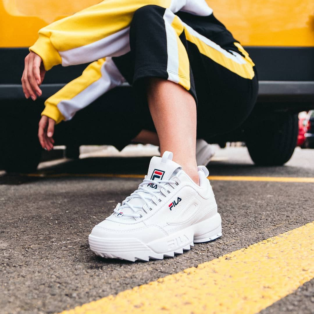 FILA DISRUPTORS IN WHITE | Shoes sneakers, Sneakers fashion