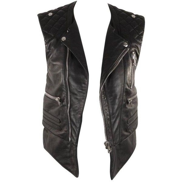 Preowned Balenciaga Black Leather Biker Moto Gilet Vest Sleeveless 936 Liked On Polyvore Featuring Ou Balenciaga Leather Jacket Textured Jacket Clothes